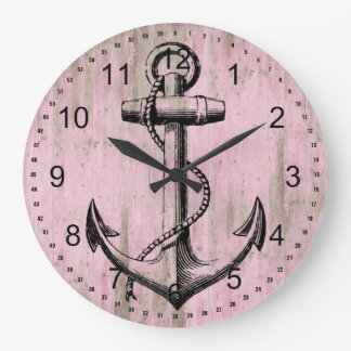 Pink Wood Anchor Large Clock