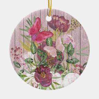 Pink Wood Effect Purple Peony Floral Bouquet Christmas Ornament