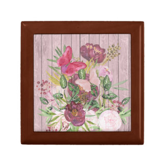 Pink Wood Effect Purple Peony Floral Bouquet Gift Box