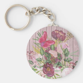 Pink Wood Effect Purple Peony Floral Bouquet Key Ring