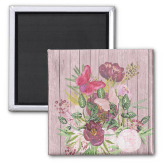 Pink Wood Effect Purple Peony Floral Bouquet Magnet
