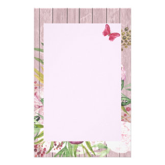 Pink Wood Effect Purple Peony Floral Bouquet Stationery