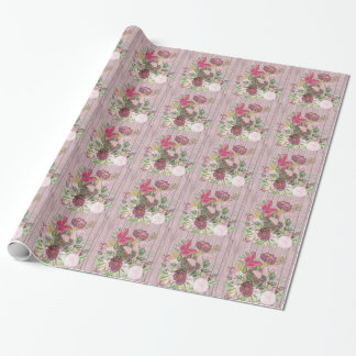 Pink Wood Effect Purple Peony Floral Bouquet Wrapping Paper