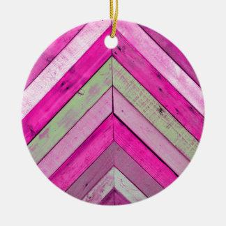 Pink wood round ceramic decoration