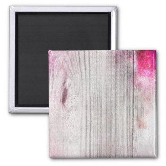 Pink Woodgrain Pattern Square Magnet