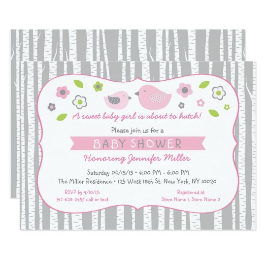 Pink Woodland Bird Baby Shower Card