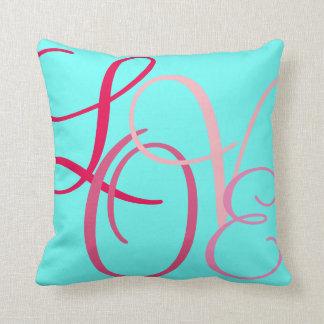 Pink Word Love on Turqouise Cushion