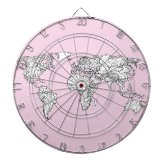 pink world map dartboard