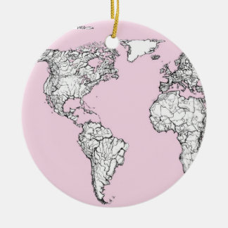 pink world map round ceramic decoration