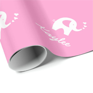 Pink wrapping paper with cute baby elephant
