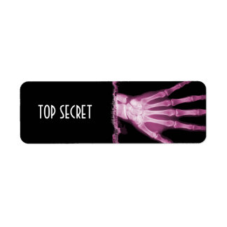 Pink X-ray Skeleton Hand TOP SECRET Labels
