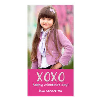 Pink XOXO Valentine Photo Card