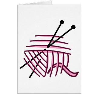 Pink Yarn and Knitting Needles Greeting Card
