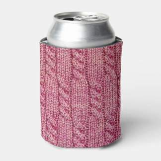 Pink Yarn Cabled Knit Can Cooler