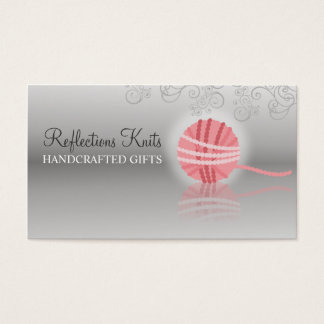 pink yarn reflection knitting crochet gift tag business card