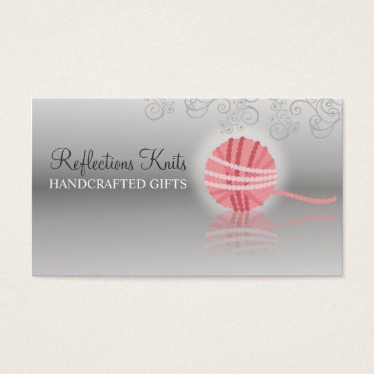 pink yarn reflection knitting crochet gift tag business