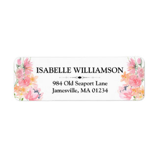 Pink, Yellow Accents Floral Return Address Labels