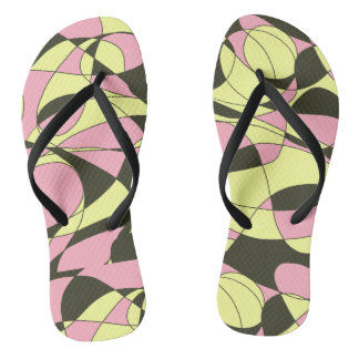 Pink, yellow and black camouflage flip flops