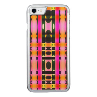 Pink Yellow and Black Psychedelic Stripes Carved iPhone 8/7 Case