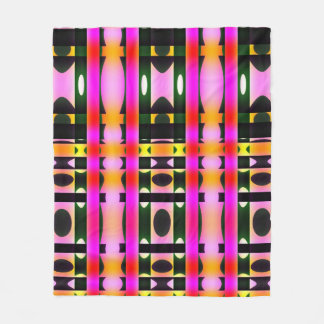 Pink Yellow and Black Psychedelic Stripes Fleece Blanket