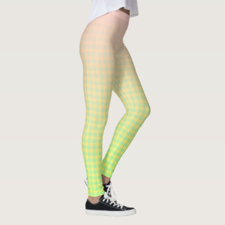 Pink, Yellow and Blue Fade to Plaid Leggings