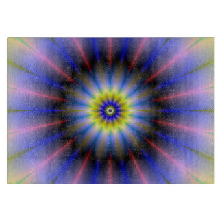 Pink Yellow and Blue Flower Cutting Board