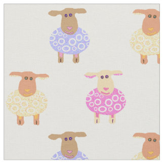 Pink yellow and blue lambs on white nursery print fabric