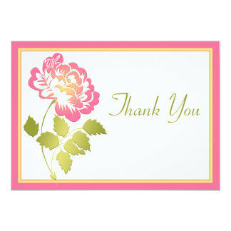 Pink, Yellow, and Green Peony Thank You Card 13 Cm X 18 Cm Invitation Card