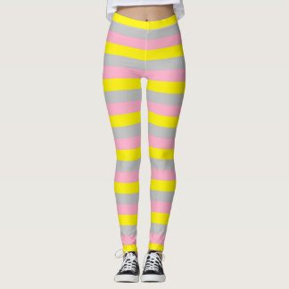 Pink, Yellow, and Silver Stripes Leggings