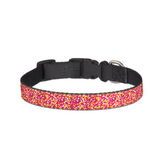 Pink, Yellow, and White Confetti Dog Collar