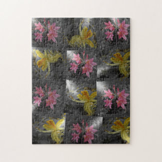pink , yellow asia blossom in silver jigsaw puzzle