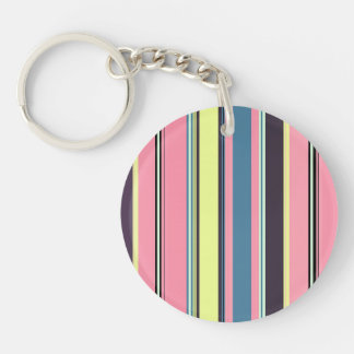 Pink Yellow Blue Purple Vertical Stripe Pattern Double-Sided Round Acrylic Key Ring