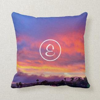 Pink yellow & blue sunrise photo custom monogram cushion