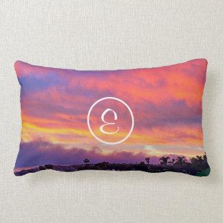 Pink yellow & blue sunrise photo custom monogram lumbar cushion