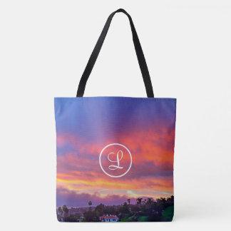 Pink yellow & blue sunrise photo custom monogram tote bag