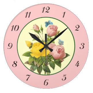 Pink Yellow Botanical Roses Wall Clock