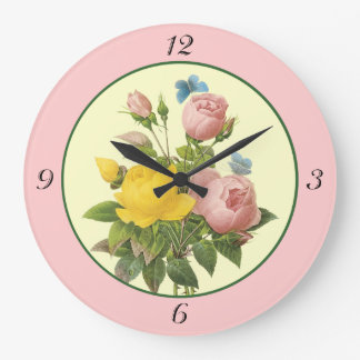Pink Yellow Botanical Roses Wall Clock with Number