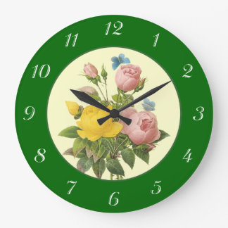 Pink Yellow Botanical Roses with Numbers Clock