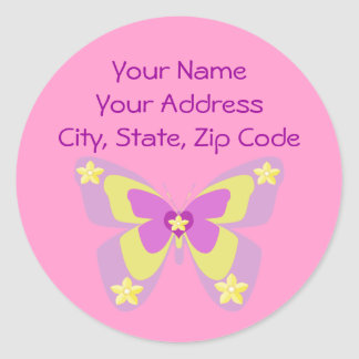 Pink & Yellow butterfly address label Round Sticker