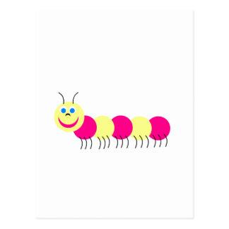 pink yellow caterpillar postcard