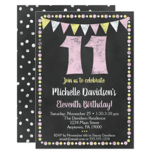 Pink Yellow Chalkboard 11th Birthday Invitation
