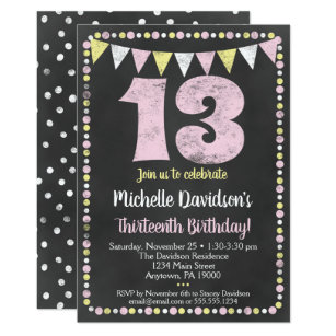 Pink Yellow Chalkboard 13th Birthday Invitation