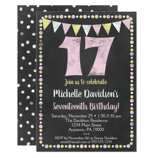 17th Birthday Invitations