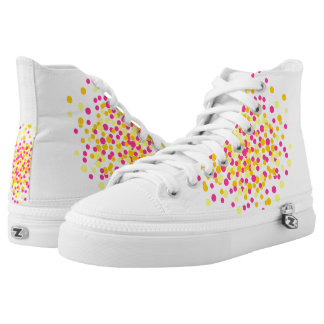 Pink Yellow Circle Dot Spot Zips High Top Shoes Printed Shoes