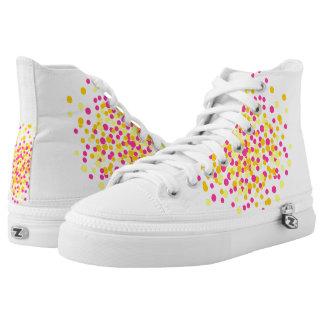 Pink Yellow Circle Dot Spot Zips High Top Shoes Printed Shoes