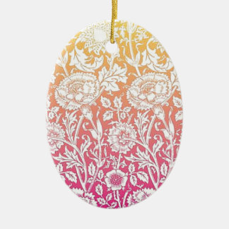 Pink & Yellow Contemporary Floral Pastel Design Ceramic Oval Decoration