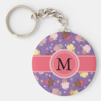 Pink Yellow Cupcakes on Purple Monogram Basic Round Button Key Ring