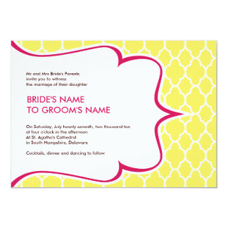 Pink & Yellow Curvy Invitations