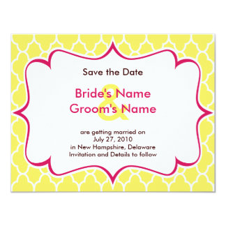 Pink & Yellow Curvy Save the Date Invitations