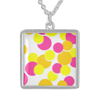 Pink Yellow Cute Big Circle Silver Square Necklace